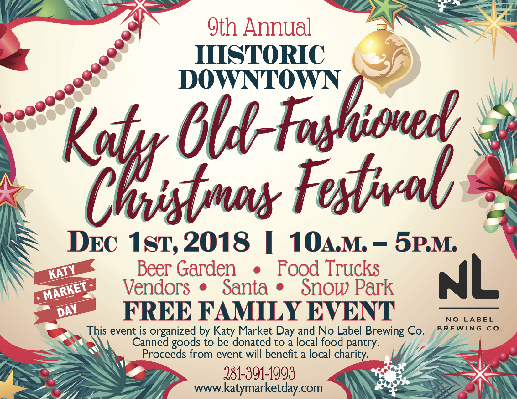 Dec 1st 2018 – Katy Old Fashioned Christmas Festival – Katy Market Day