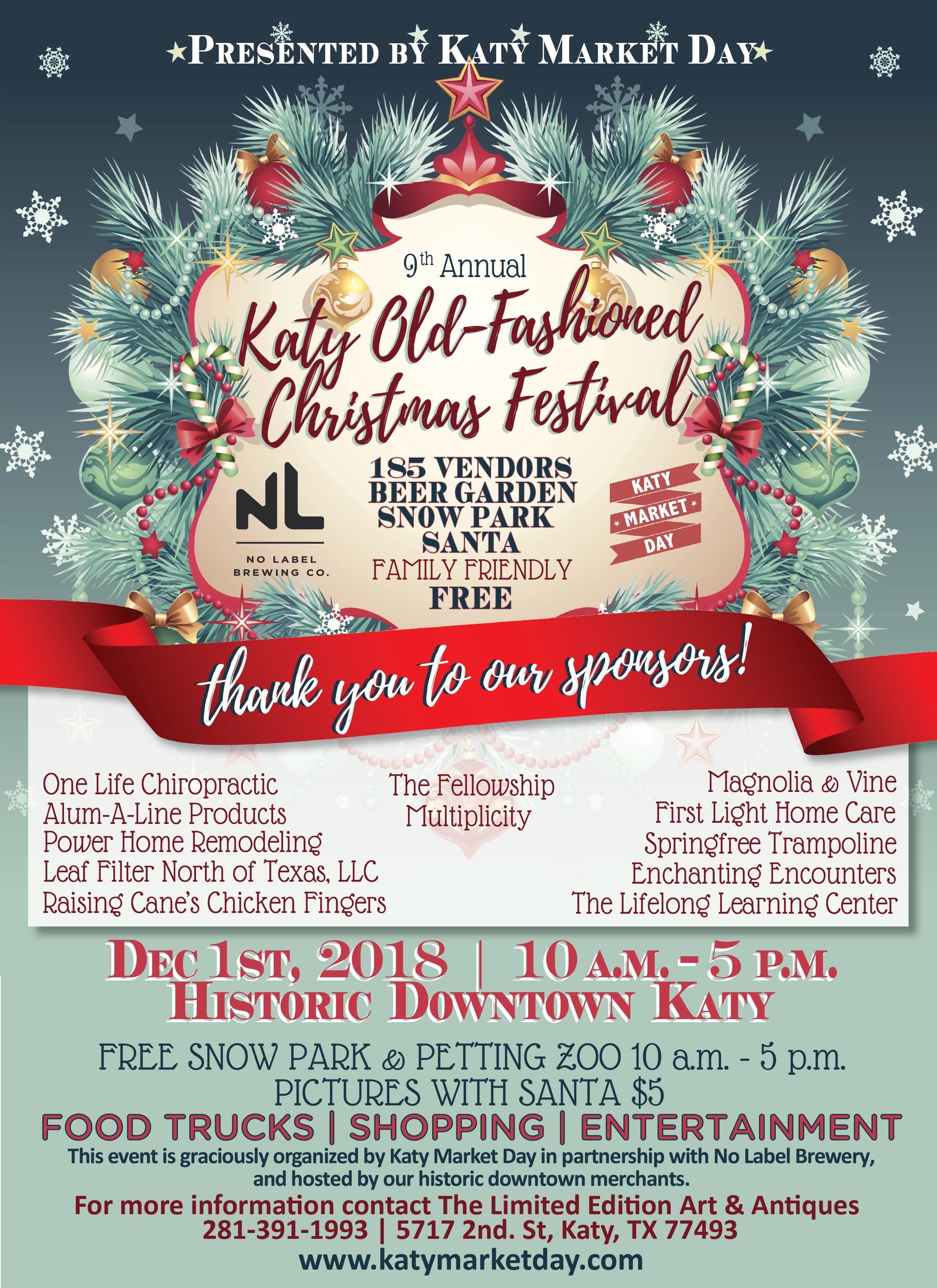 Dec 1st 2018 – Katy Old Fashioned Christmas Festival – Katy Market Day